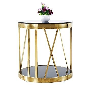 Yzzy Table D Appoint Table Basse Verre Rond En Acier