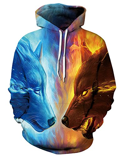 (GLUDEAR Unisex Realistic 3D Digital Print Pullover Hoodie Hooded Sweatshirt,Ice&Fire Wolf,S/M)