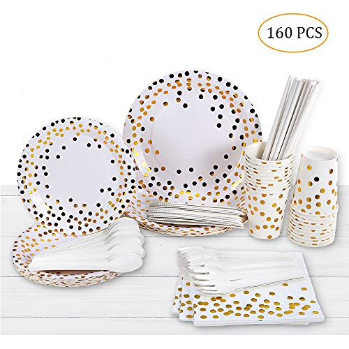 esonmus Disposable Paper Plates&Cups 20 Set, Gold Dot Disposable Cups Dinner Plates Dessert Plates Straws Spoons Forks Cutters Napkins- Baby Shower, Wedding, New Year Birthday Party Supplies -160pcs