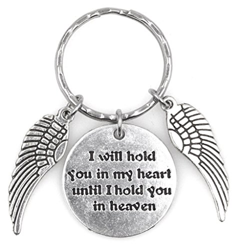 I Will Hold You in My Heart Until I Hold You in Heaven 2 Angel Wings Keychain 112S