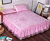 High-grade Lace Bed Skirt Mat Three-piece 1.8m Bed Removable Folding Summer Bed Mat 1.5 M-sheet ZXCV (Color : 1, Size : 200220)