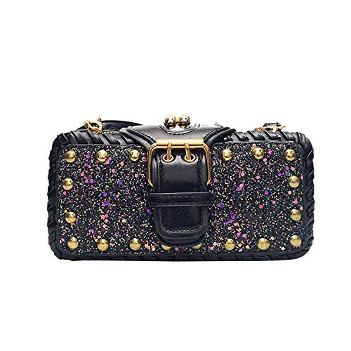 Fashion Bling Crossbody Bag for Women,WEI MOLO Small Rivet Handbag Sequins Shoulder Bag Stylish Computer Backpack School