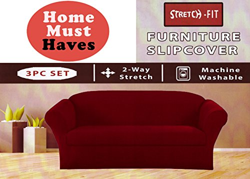 Homemusthaves Burgundy Furniture Slipcover Stretch Fit 3 Piece Slipcover Set Sofa Cover Love seat cover Armchair Cover