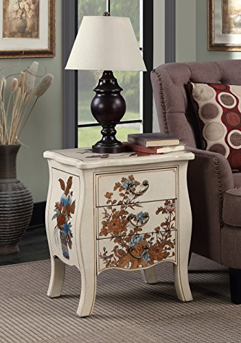 Convenience Concepts Touch of Asia 3-Drawer End Table, White