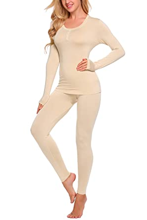 61d79221e95 YOZLY Base Layers Womens Lightweight Pajamas Set Two Piece Thermal Underwear  (Nude