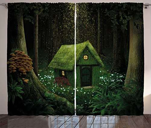 - Ambesonne Fantasy Curtains, Surreal Little Forest House in Moss Enchanted Woodland with Elves Design, Living Room Bedroom Window Drapes 2 Panel Set, 108 W X 108 L inches, Army and Hunter Green