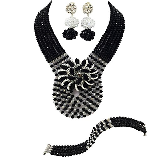 laanc Womens Wedding 6 Rows Champagne Gold AB and Multicolor Crystal Beads African Jewelry Sets (Black Tranparent)