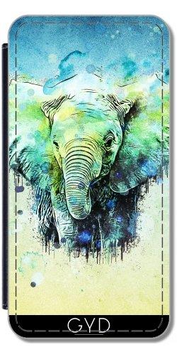 Leder Flip Case Tasche Hülle für Apple Iphone 7 Plus / 8 Plus - Aquarell Elefanten by Ancello