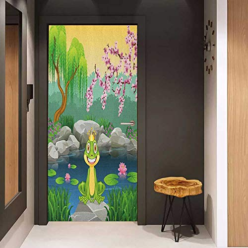 Onefzc Sticker for Door Decoration King Fairytale Inspired Cute Little Frog Prince Near Lake on Moss Rock with Flowers Image Door Mural Free Sticker W17.1 x H78.7 Multicolor