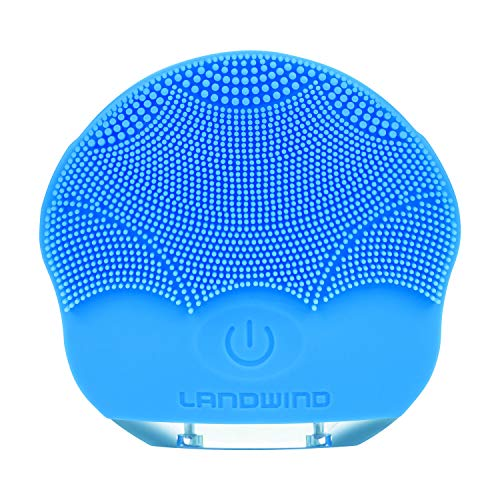LANDWIND Facial Cleansing Brush, Sonic Silicone Scrubber, Face Vibrating Massager, IPX7 Waterproof, Rechargeable, Deep Cleaning for All Skins, Anti-Aging Facial, Exfoliation (Blue)