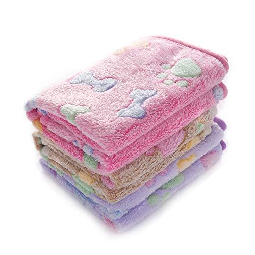 luciphia 1 Pack 3 Blankets Super Soft Fluffy Premium Fleece Pet Blanket Flannel Throw for Dog Puppy Cat Bone Small