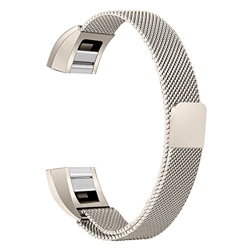 bayite for Fitbit Alta HR and Alta Bands, Replacement Milanese Loop Stainless Metal Mesh Bands Women Men Small Champagne Gold