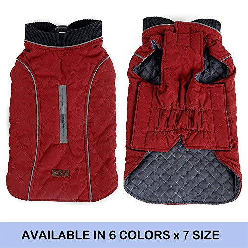 (FOREYY Reflective Dog Coats with Leash Harness Attachment Hole - Winter Vest Jackets for Small Medium Large Dogs Windproof Snowsuit Cold Weather Pet Apparel Clothes Sweaters(Red,L) )