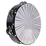 Dovewill Double Row Hand Bell 8'' Tambourine Round Percussion for Kids Music Educational Toys Gift KTV Party Accessory