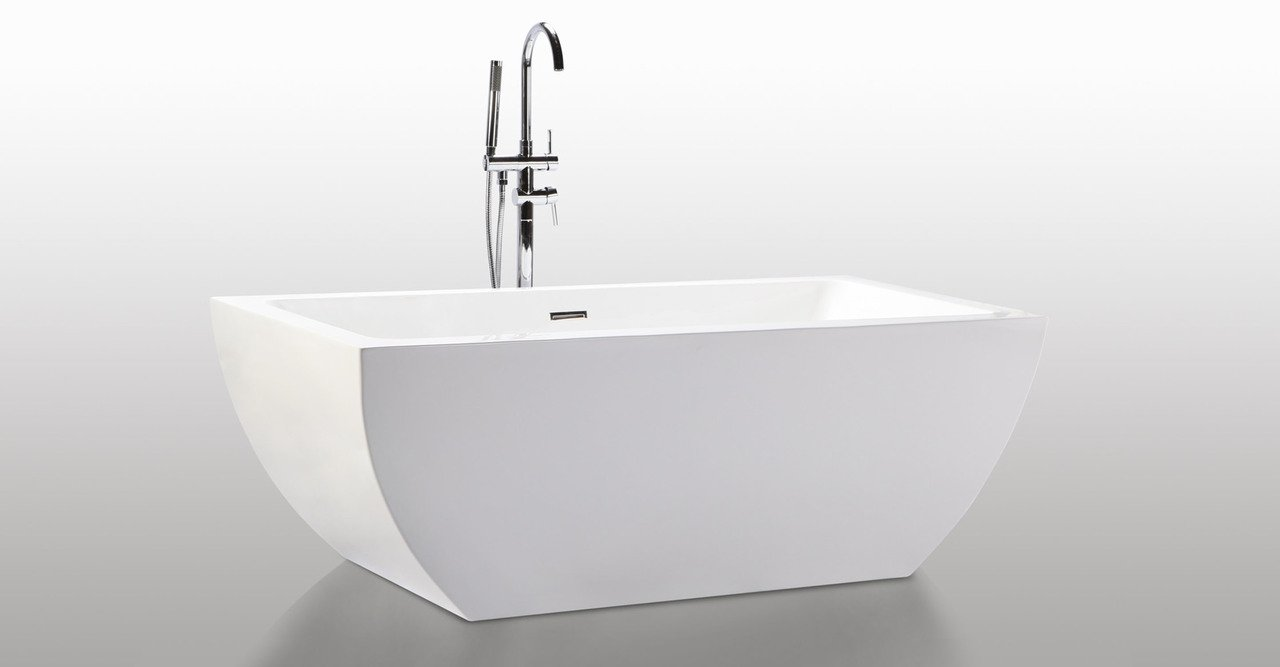 Kardiel HB-BT-VELIA-59-RO Velia Freestanding Contemporary Acrylic Bathtub, 59'', Whiterectangle Overflow