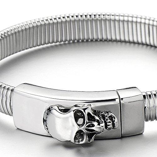 Unique Bracelet Crâne Homme d'acier inoxydable - Fermoir Magnétique - Couleur Argent