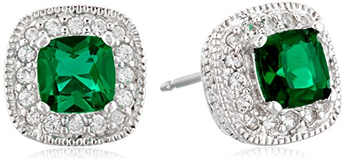 5 Mm Emerald Earrings (Rhodium Plated Sterling Silver Cushion Cut Created Emerald 5mm and Created White Sapphire Halo Stud Earrings)