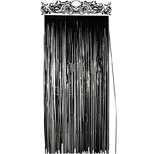 KUUQA Halloween Door Curtain Black Shiny Foil Party Decorations Entrance Door Curtain Halloween, 3.3 x 6.5 -