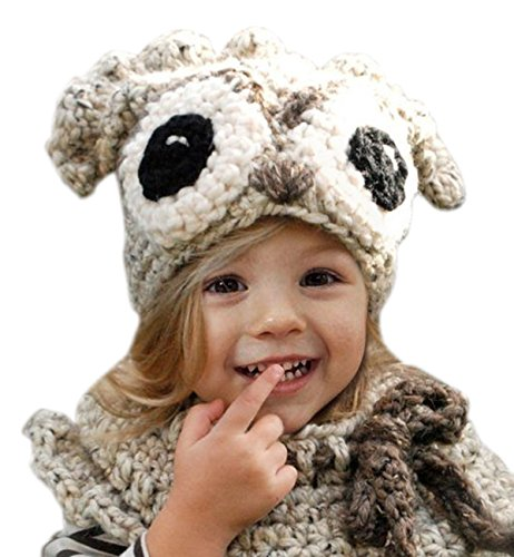 55235c3df78 Sumolux Girls Kids Warm Owl Hats and Scarf Set Knitted Coif Hood Shawl  Beanies for