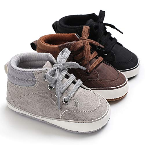 6185e5c88f45c Baby Girls Boys Canvas Shoes Soft Sole Toddler First Walker Infant High-Top  Ankle Sneakers Newborn Crib Shoes (12-18 Months, PU-Brown)