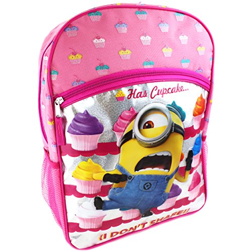 Despicable Me Girls' Universal Cupcake Front Zipper Pocket 16 Backpack, Pink