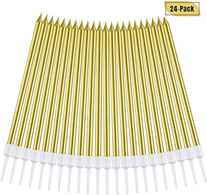 Amazon 24 Count Party Long Thin Cake Candles Metallic Birthday In Holders For Cakes Cupcake Gold Home Kitchen