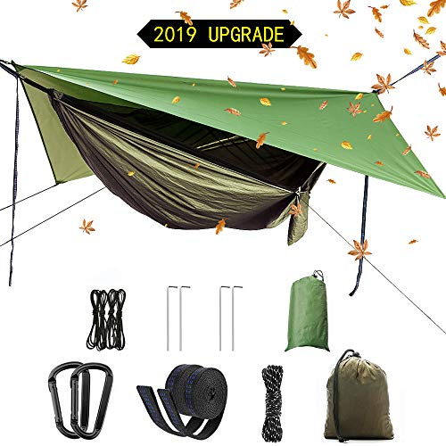 2019 Upgrade Portable camping hammock set,single double hammock,mosquito net,insect net,rain shade tent,high strength parachute fabric hanging bed. Suitable for outdoor,hiking,camping, travel