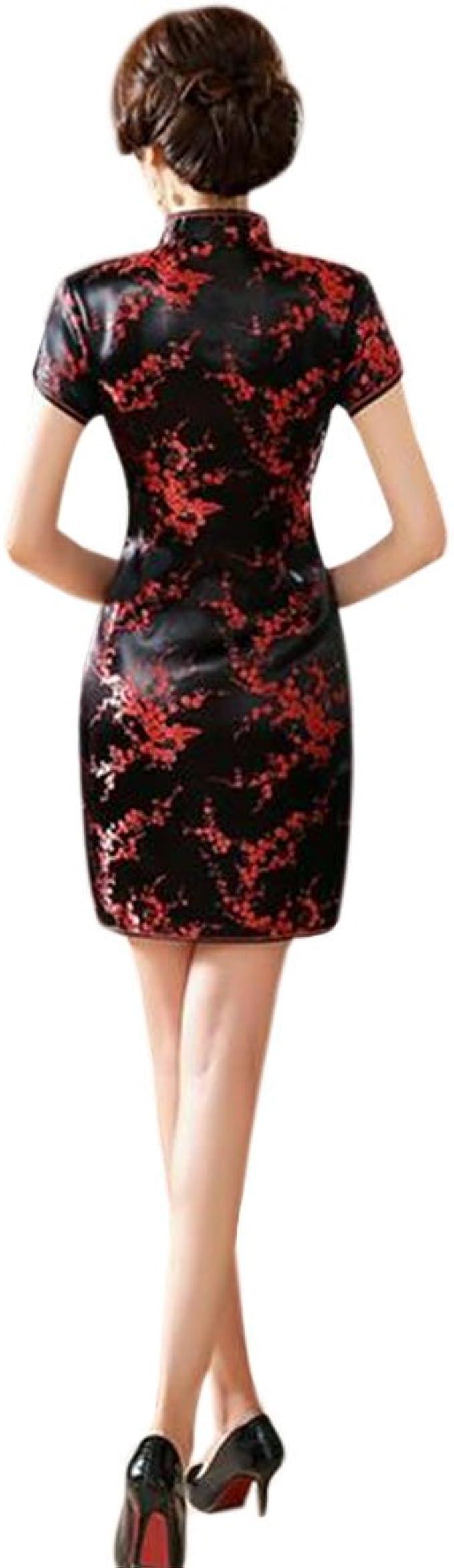 Hzjundasi Chino Tradicional Mujer Retro Floral Impreso Mangas Cortas Cheongsam Brocado Qipao Vestido de Noche M: Amazon.es: Ropa y accesorios