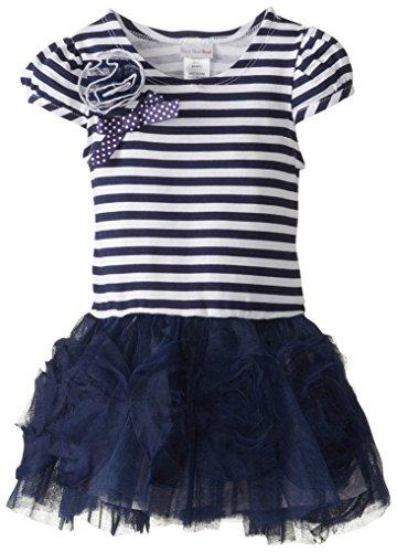 Sweet Heart Rose Little Girls' Stripe Tulle Fashion Dress, Navy, 6