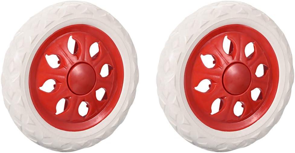 Sourcingmap - Rueda de repuesto para carrito de la compra (6,5 cm de diámetro, espuma de goma Rojo