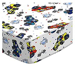 SheetWorld Fitted Pack N Play (Graco Square Playard) Sheet - Fun Race Cars - Made In USA