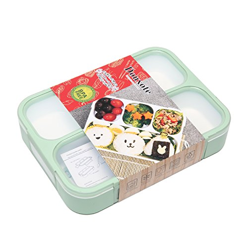 Donxote Lunch Bento Box Leak-Proof Sealing Food Container - 4 Compartments With a Spoon - BPA-free Microwave-Safe Boxes (Green)