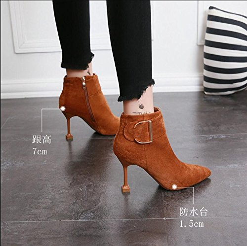 KHSKX-Caramel-Colored Metal Large Tie Satin Women'S Shoes Simple And High Heels Slim Girl With Short Side Zipper Boots Female Boots 38 zMVIJwXx