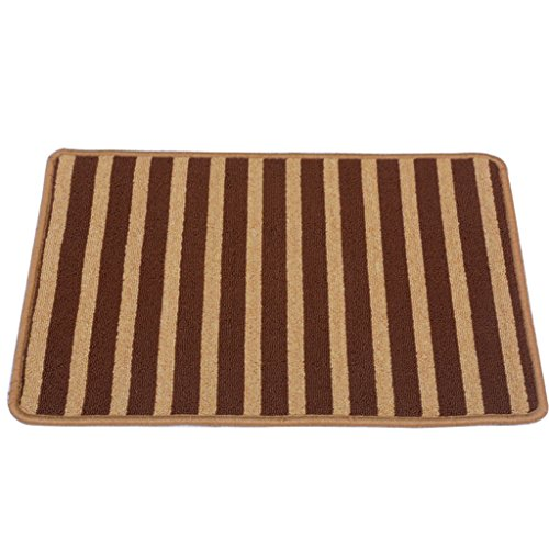 Edge to Carpet Rug Brown Striped Kitchen Blanket Bathroom Hall Entrance Entrance Door Carpet Moisture Suction Slip Mats (Size : 50100cm) by Edge to