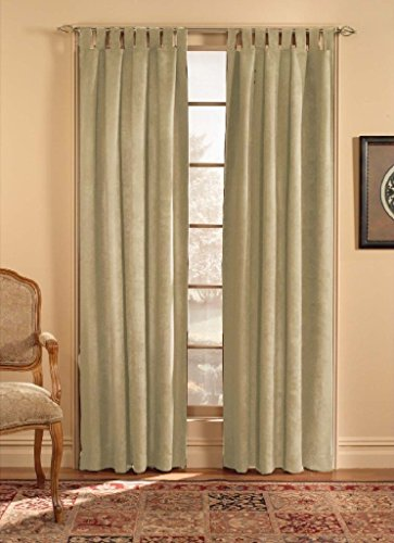 CHF & You Ultra Suede Tab Top Window Curtain Panel, Beige, 50-Inch X 63-Inch