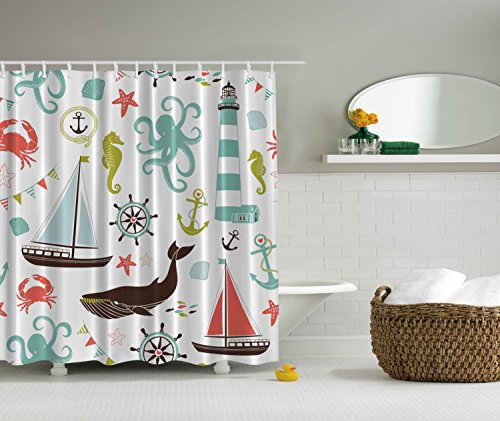 Ambesonne Fabric Shower Curtain, Whale Shark Seahorse Sea Creatures Rope and Anchor Octopus Coral Crab Marine Lighthouse Ocean Theme Home Decor Bathroom Nautical Coastal, Coral Turquoise -