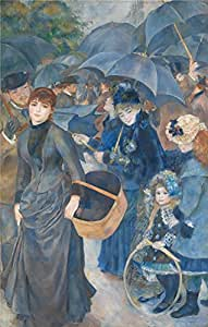 polyster Canvas ,the Beautiful Art Decorative Prints on Canvas of oil painting 'Pierre Auguste Renoir The Umbrellas ', 16 x 25 inch / 41 x 64 cm is best for Basement gallery art and Home decor and Gifts