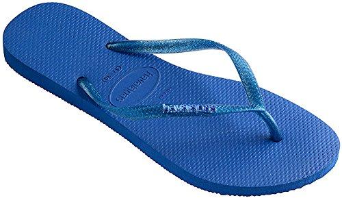 Havaianas Womens Slim Logo Metallic Flip Flop Sandal Blue Star Size 35-36 BR/6 B(M) US (Sandals Flip Slim Flop)