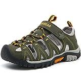 HOBIBEAR Boys Outdoor Closed-Toe Summer Sport Sandals(33,Dark Green)