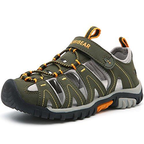 HOBIBEAR Boys Kids Outdoor Closed-Toe Summer Sport Sandals-Dark Green