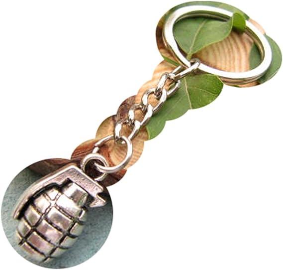 Ancient Bomba de plata llavero, llavero, diseño de Granada de mano ...