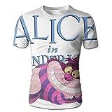 XINSHOU Alice in Wonderland Cheshire Cat Men's 3D All Print Short Sleeve Tshirt S