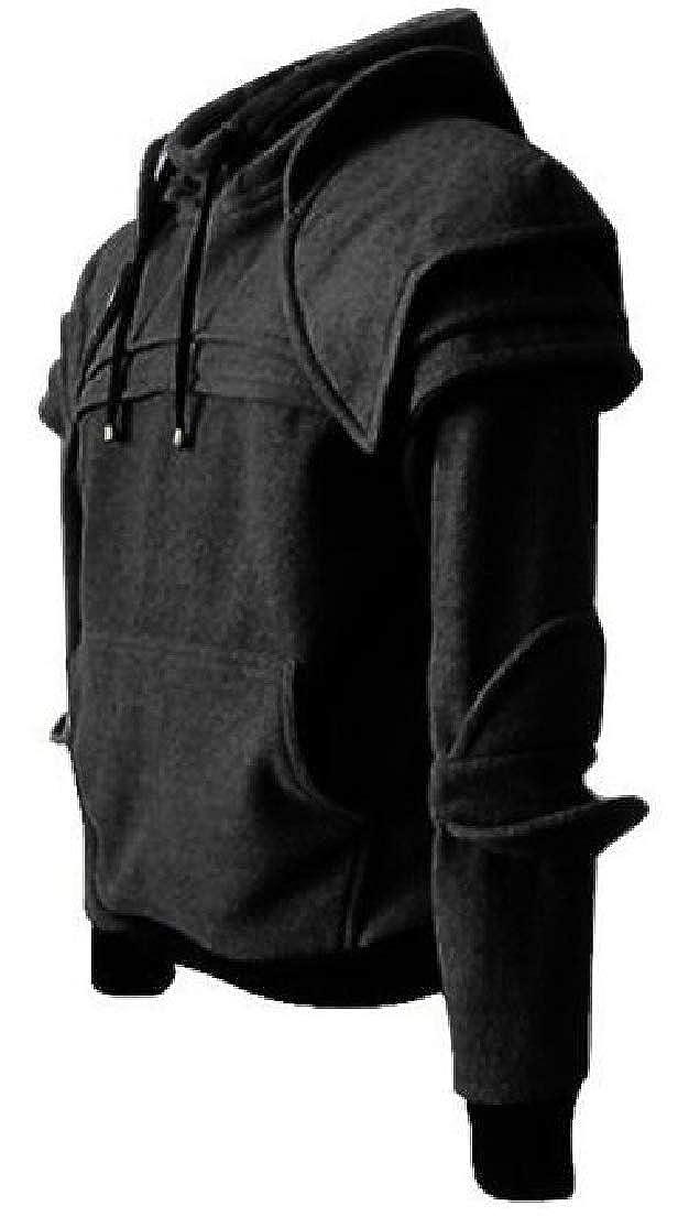 Cromoncent Mens Hooded Plus Size Performance Neck Face Flap Sweatshirts Jacket