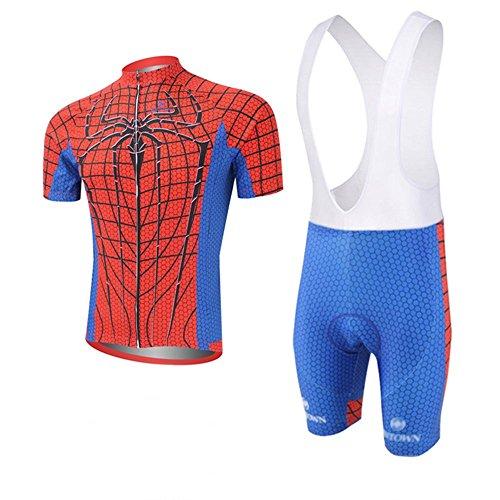 Cplus Sportware Men's Short Sleeve Spiderman Red Cycling Gel Pad Bid Jersey Set L ()