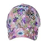 BCDshop Hat Women Hats Trends Sun Hats Pearl Floral Print Cotton Adjustable Baseball Cap (Purple)