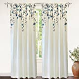 DriftAway Isabella Embroidered Room Darkening Window Curtain, Embroidered Crafted Flower, SET OF 2, 50″x84″ (Ivory/Blue)