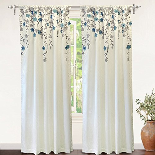 (DriftAway Isabella Embroidered Room Darkening Window Curtain, Embroidered Crafted Flower, Set of 2, 50