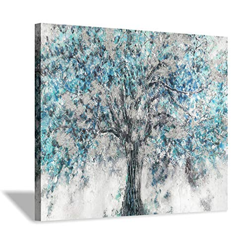(Abstract Tree Canvas Wall Art: Blue Picture Painting Graphic Art Print for for Kitchen (24
