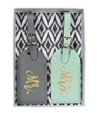 The Paisley Box Mr. & Mrs. Luggage Tag Set, Gray & Mint
