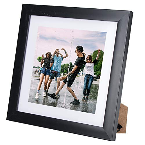 11X11 Picture Photo Instagram Frame (1 Pack) with Matted for 8X8 Black Color, Table Top and Wall Mounting Display